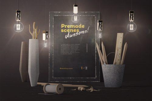 Vintage Premium Poster Mockup Scene