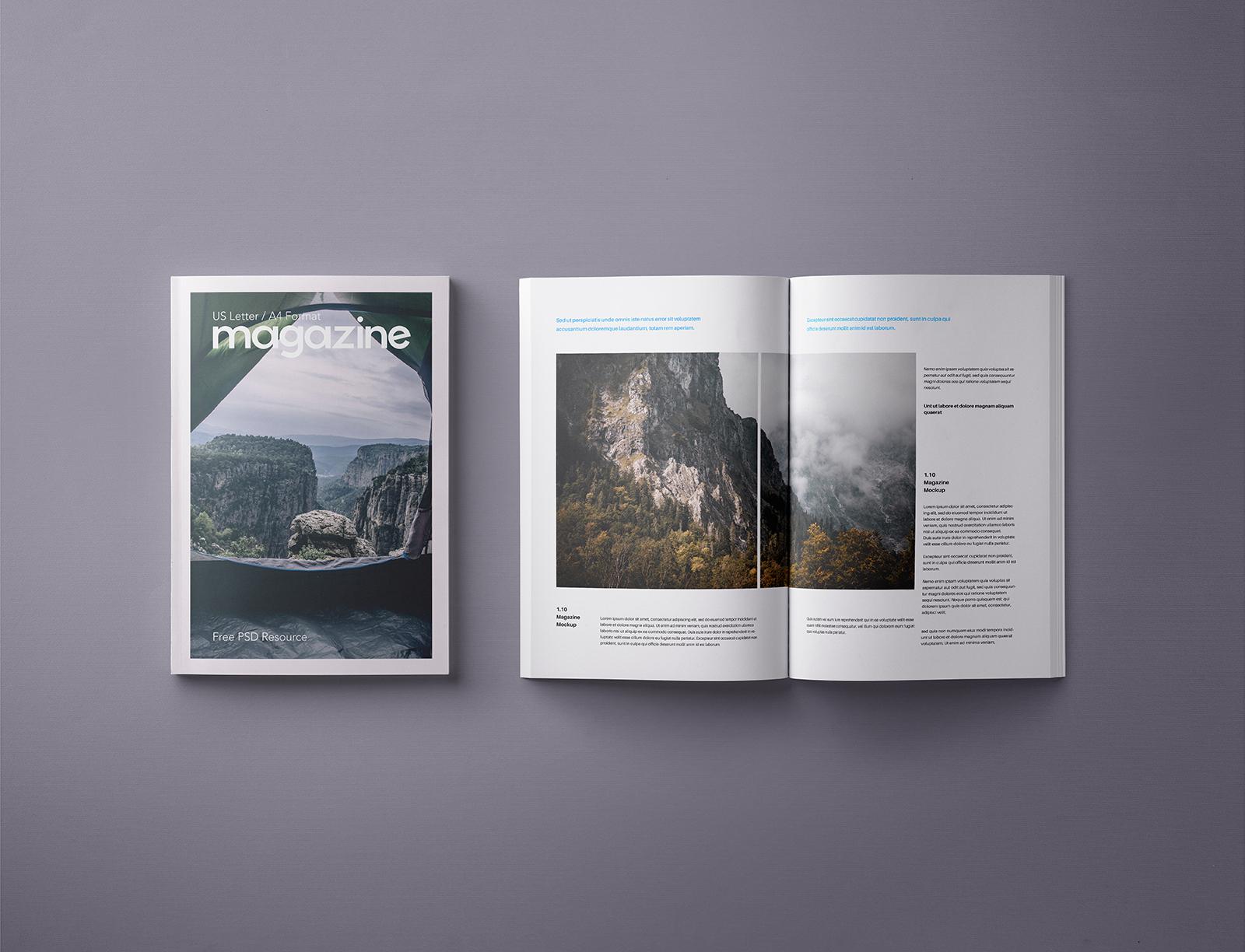 A4 Magazine Mockup Template PSD