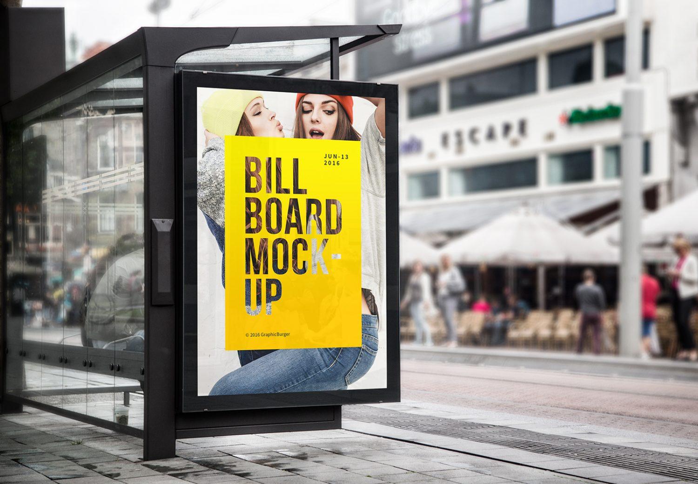 Bus Stop Billboard PSD Mockup