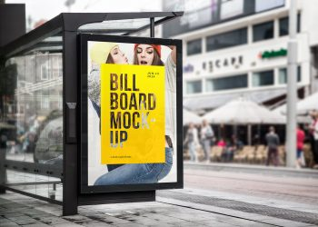 Bus Stop Billboard PSD Mockup