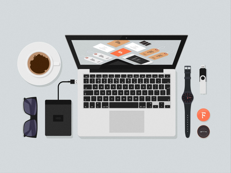 Flat Desk Items PSD Mockups
