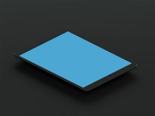 Isometric Matte Black iPad Pro 10.5 Mockup