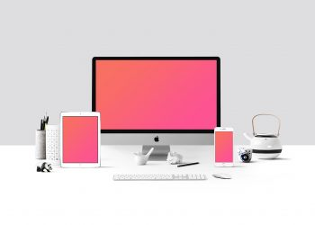 Workspace with Devices Mockup
