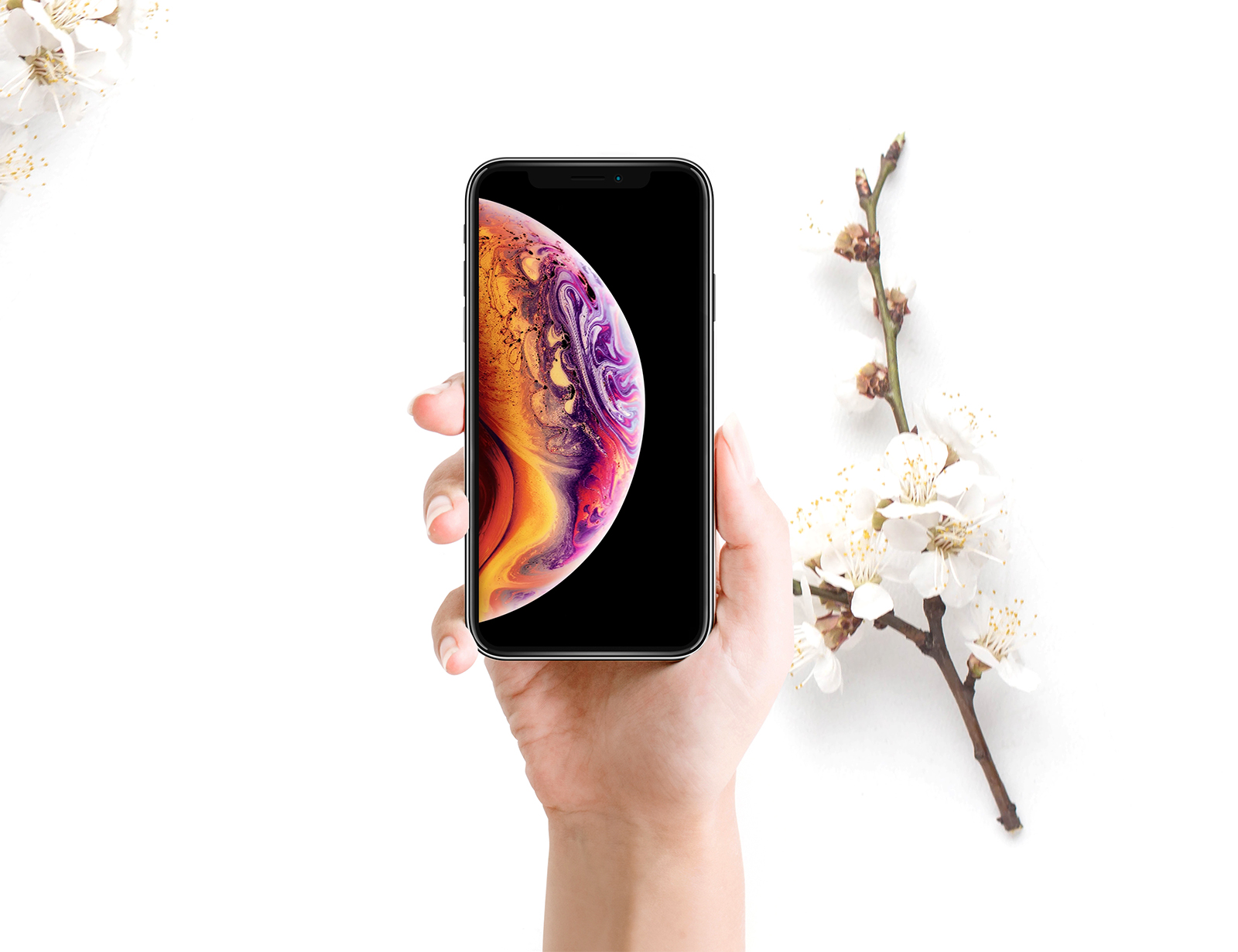 iPhone and Flowers Mockup