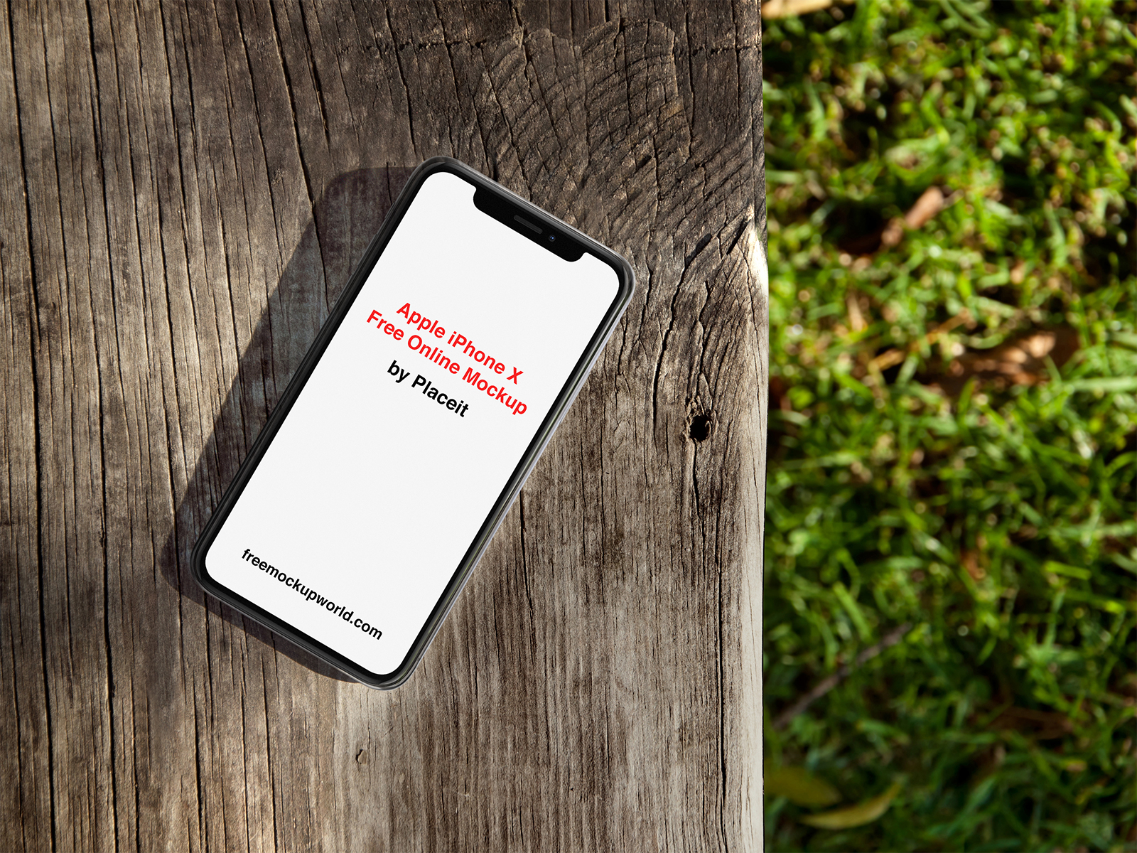 iPhone X Mockup Lying on a Wooden Bench