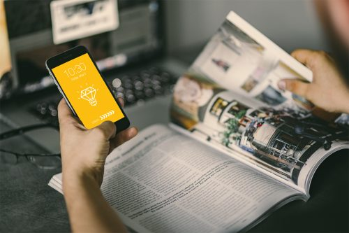 Magazine with iPhone Mockup PSD