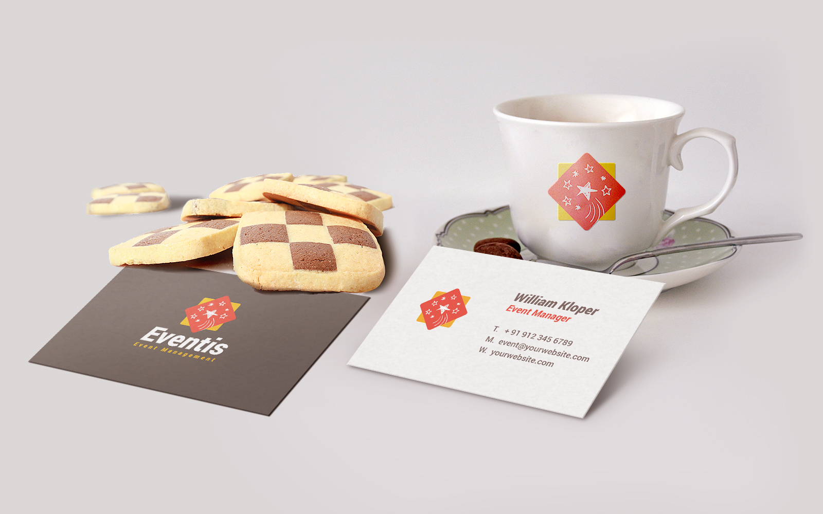 Business Card Coffee Cup Mockup