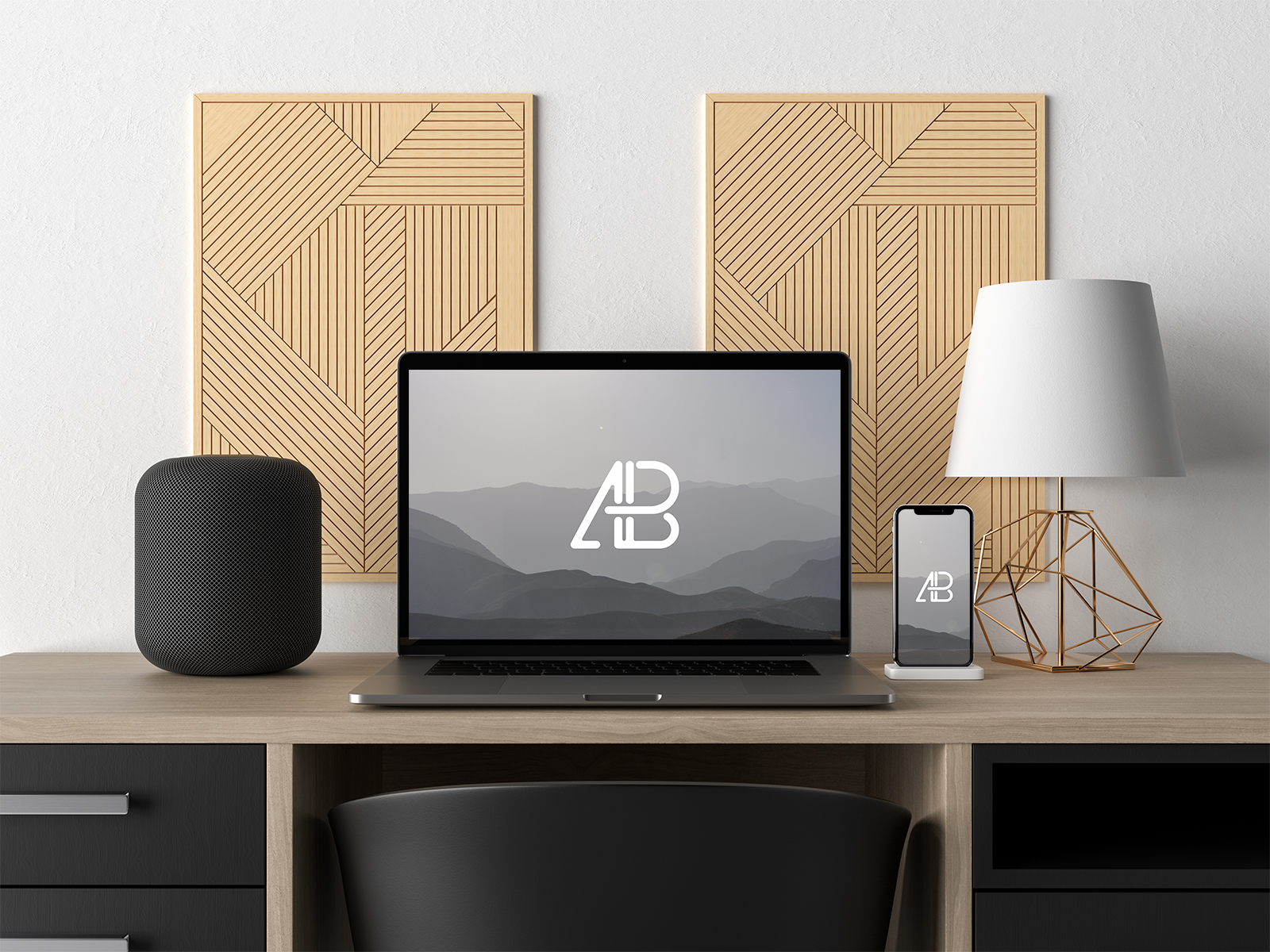 Macbook And iPhone On Desk Mockup