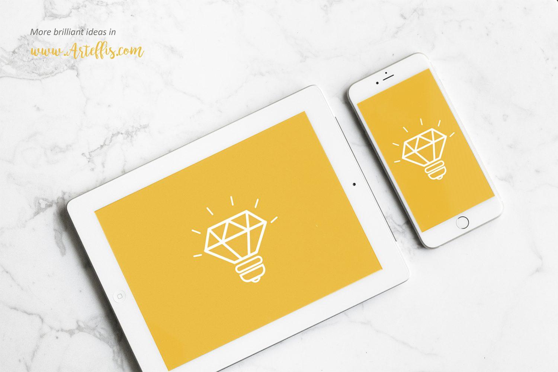 White iPad With iPhone Mockup