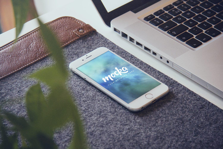 iPhone 6 Plus On Desk Mockup