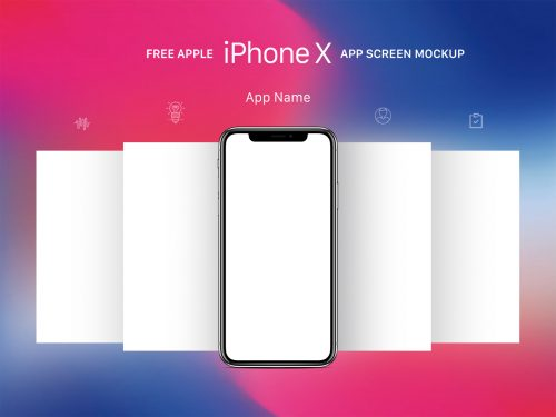 iPhone With App Screens Mockup