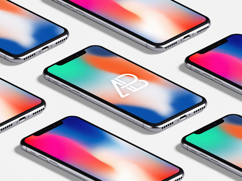 iPhone X Isometric Mockups