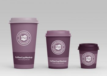 3 Size Coffee Cup Mockups PSD