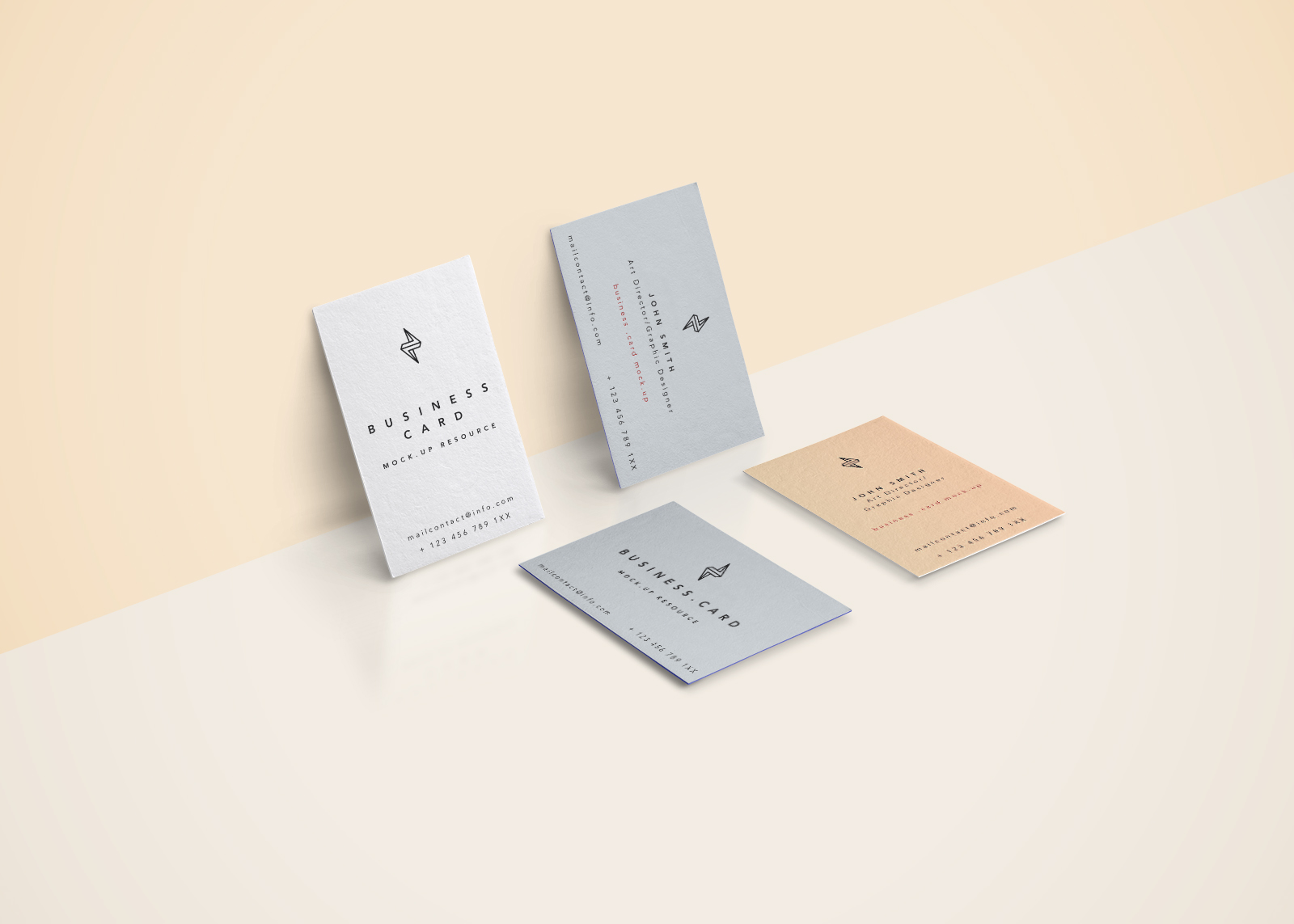 4 Business Cards Scene Mockup PSD