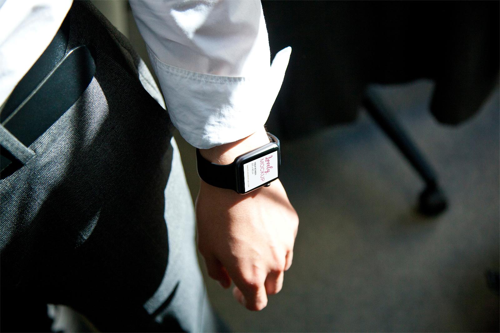 Apple Watch on Mans Hand Mockup 01