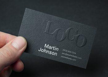 Embossed Dark Business Card Mockup
