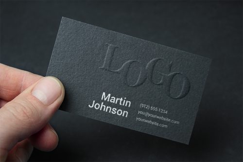 Embossed Dark Business Card Mockup