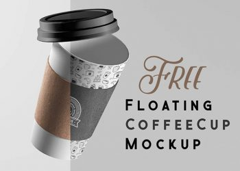 Free Floating Coffee Cup Mockup PSD