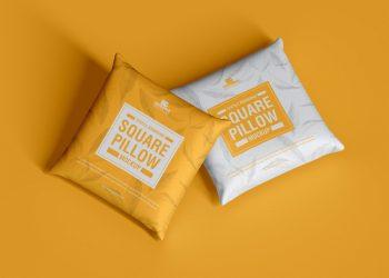Free Branding Square Pillow Mockup PSD