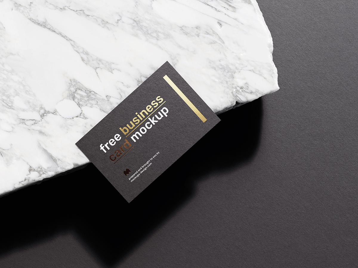 Free Business Card on Marble Mockup PSD