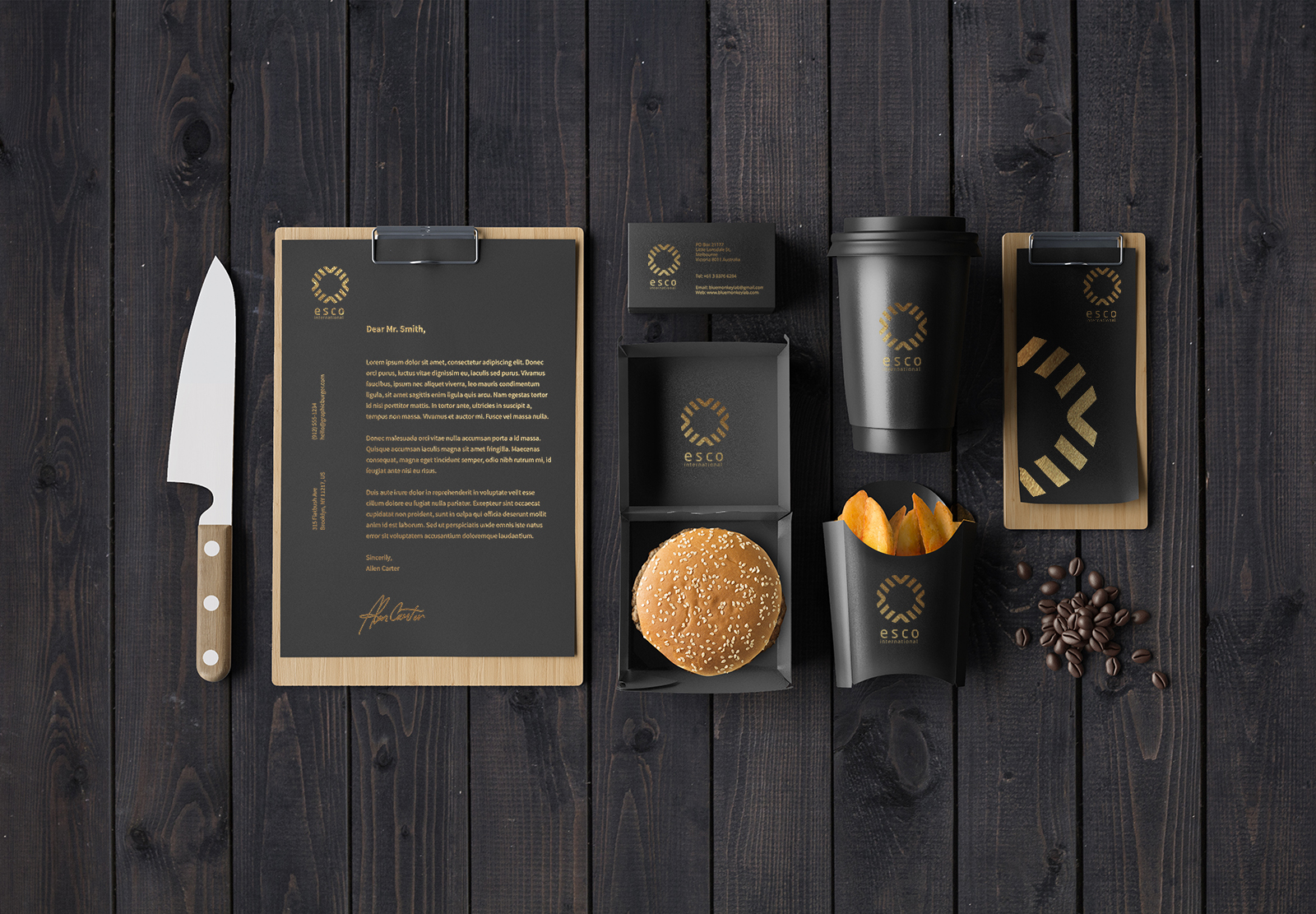 Free Cafe Stationery Mockup PSD
