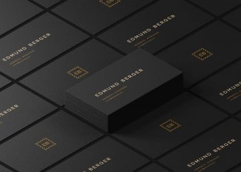 Free Dark Isometric Business Cards Mockup PSD