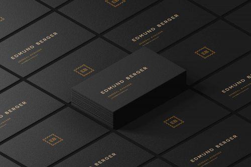 Free Dark Isometric Business Cards Mockup PSD