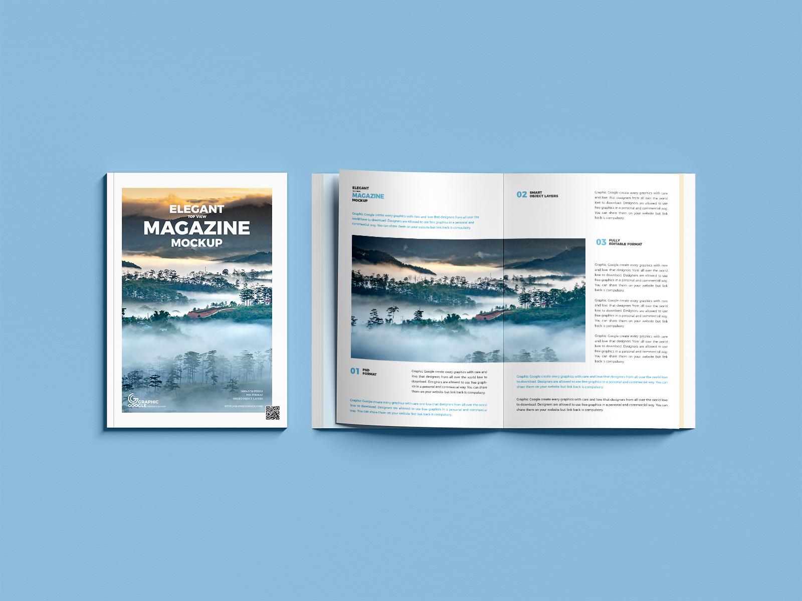 Free Elegant Top View Magazine Mockup PSD
