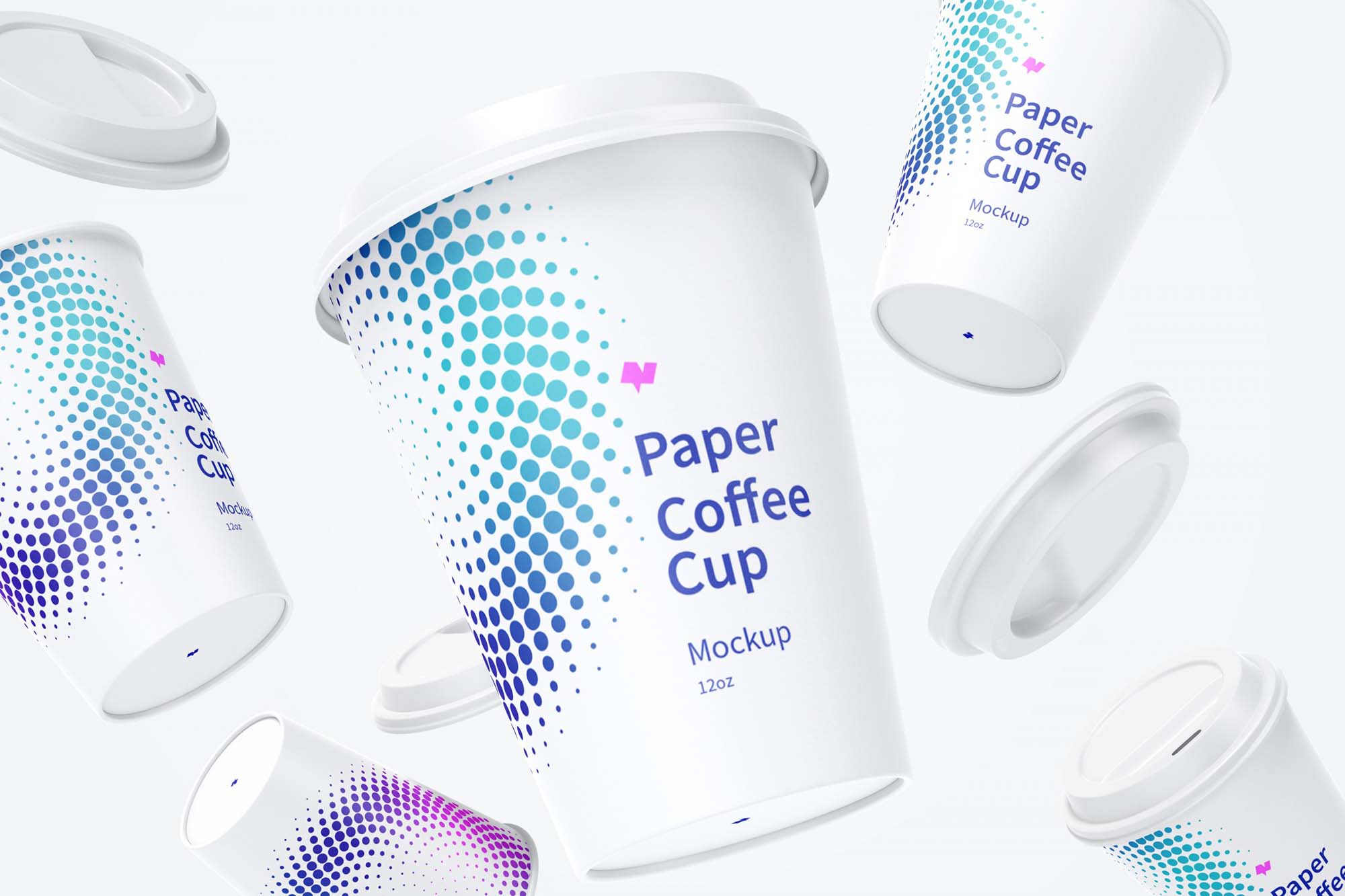 Free Falling Paper Coffee Cups Mockup PSD
