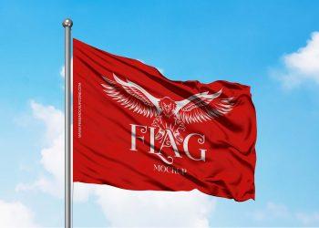 Free Simple Flag Mockup PSD