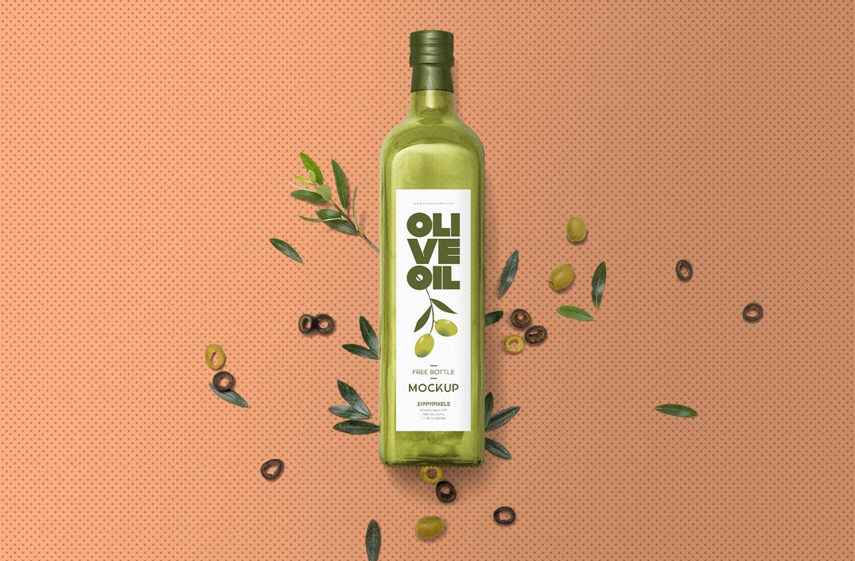 Free Glass Olive Oil Bottle Mockup