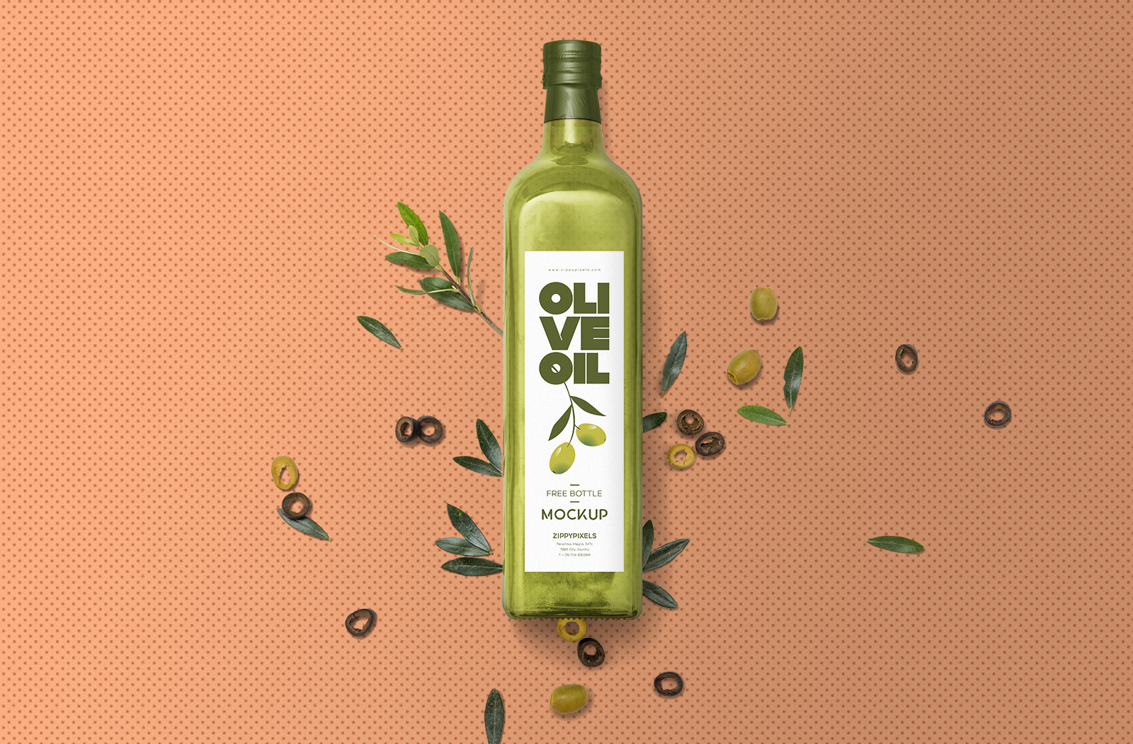 Free Glass Olive Oil Bottle Mockup