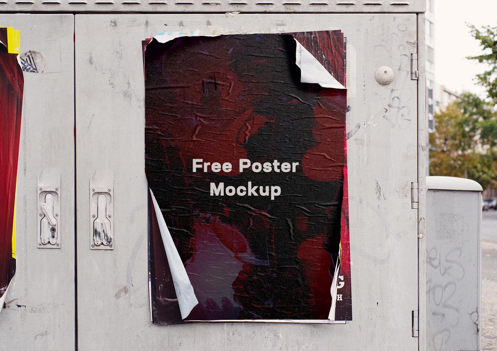 Free Glued Street Poster Mockup PSD