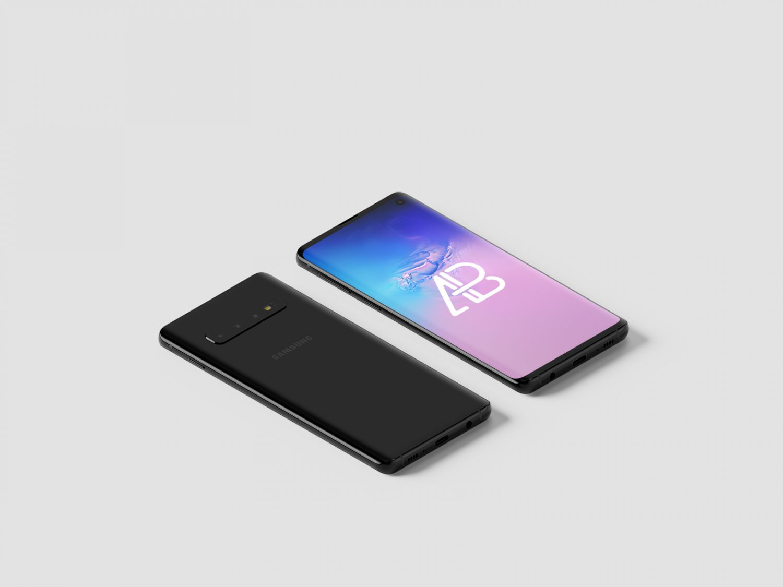 Free Samsung Galaxy S10 Isometric Mockup