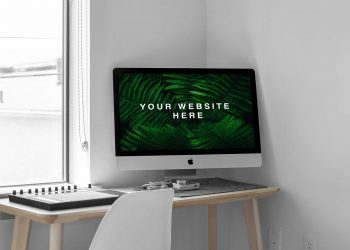 Free iMac in Room Mockup PSD