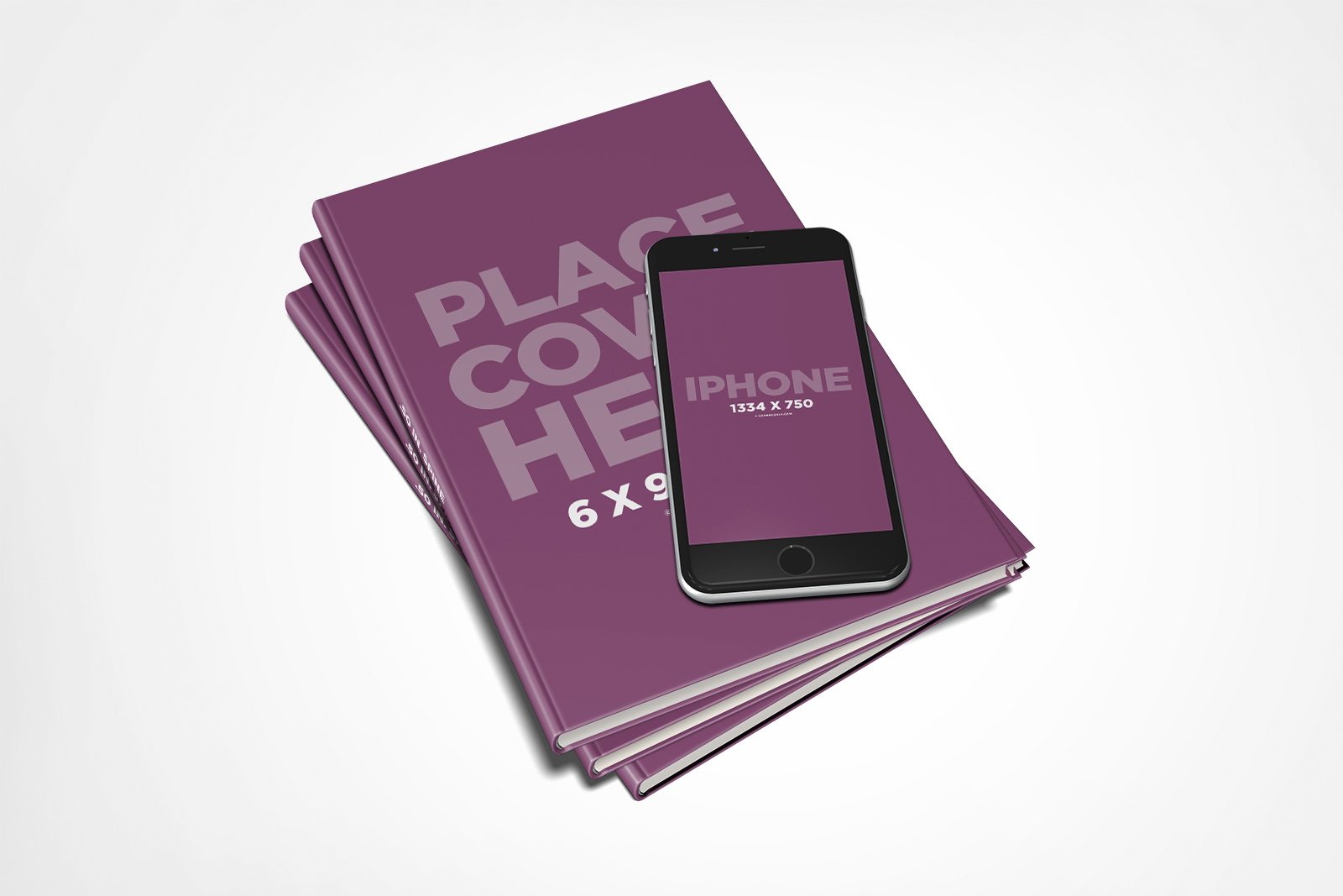 Hardcover Book Stack iPhone 6 Mockup