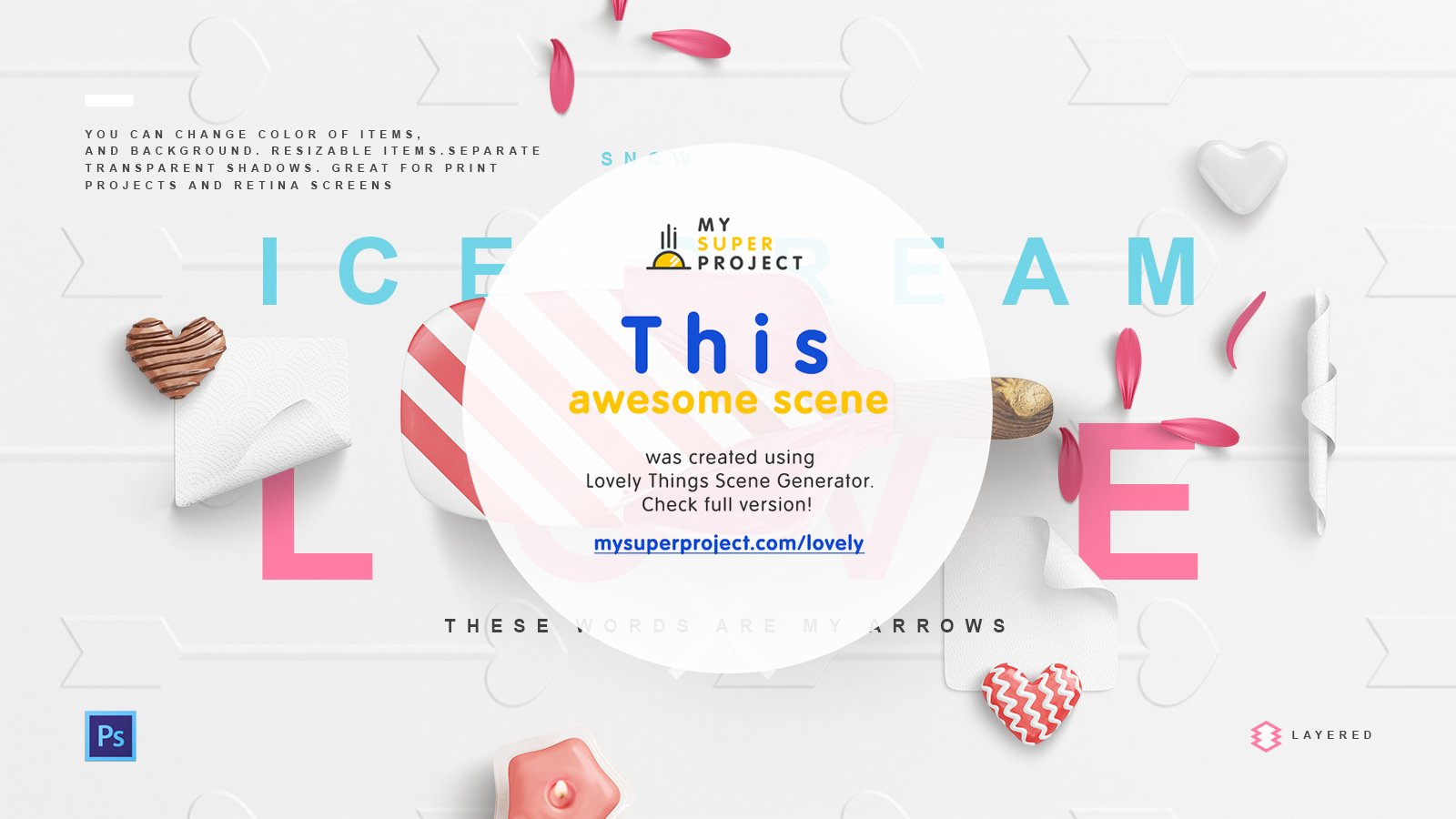 Lovely Things Mockup Scenes PSD