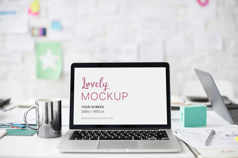 Macbook Office Desk PSD Mockup