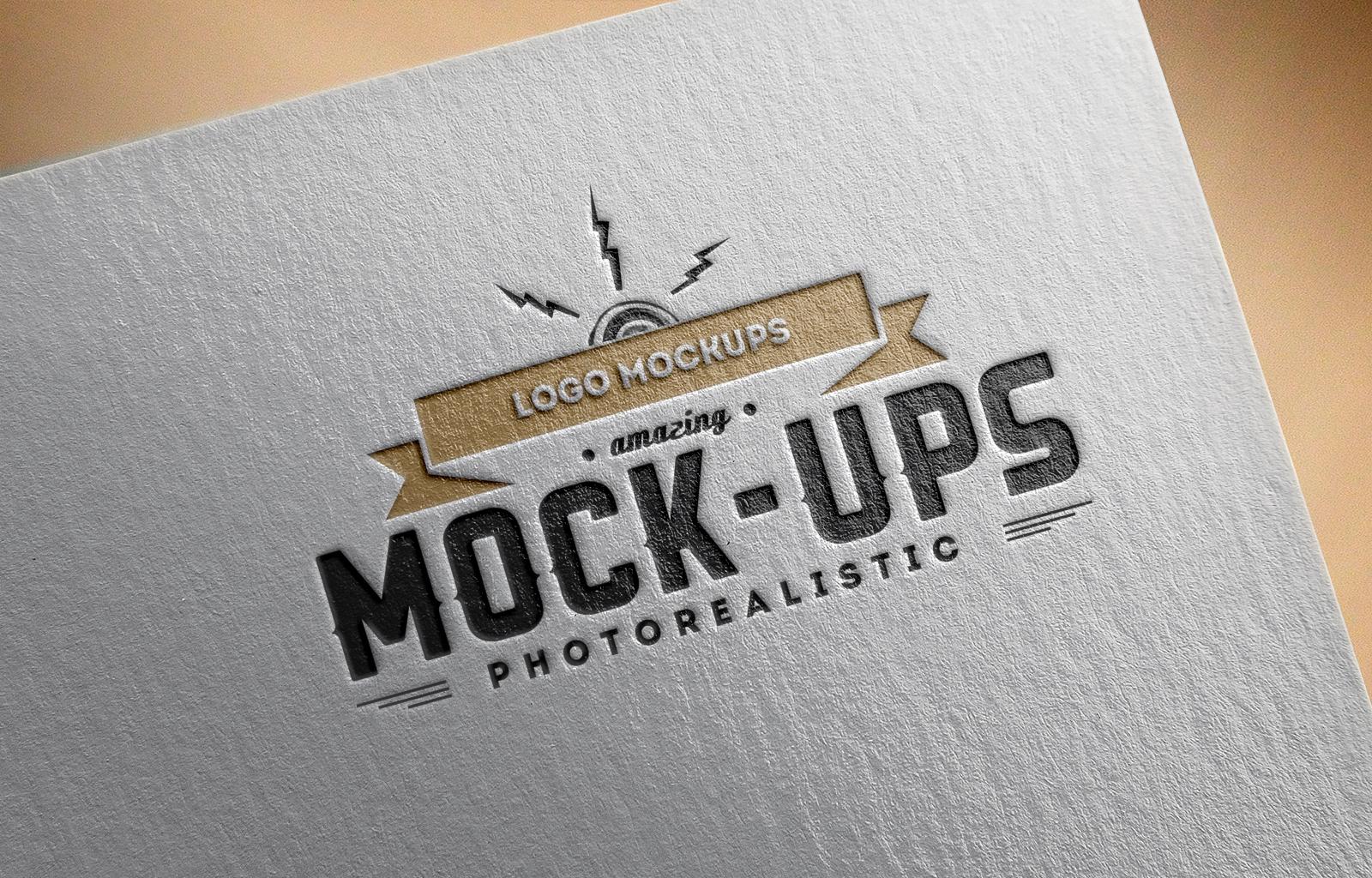 Perspective Debossed Logo Mockup PSD
