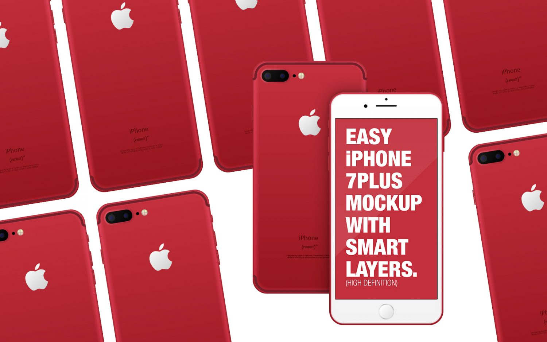 Red iPhone on Desk Mockup