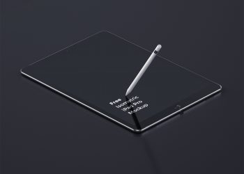 iPad Pro Tablet Perspective Mockup PSD