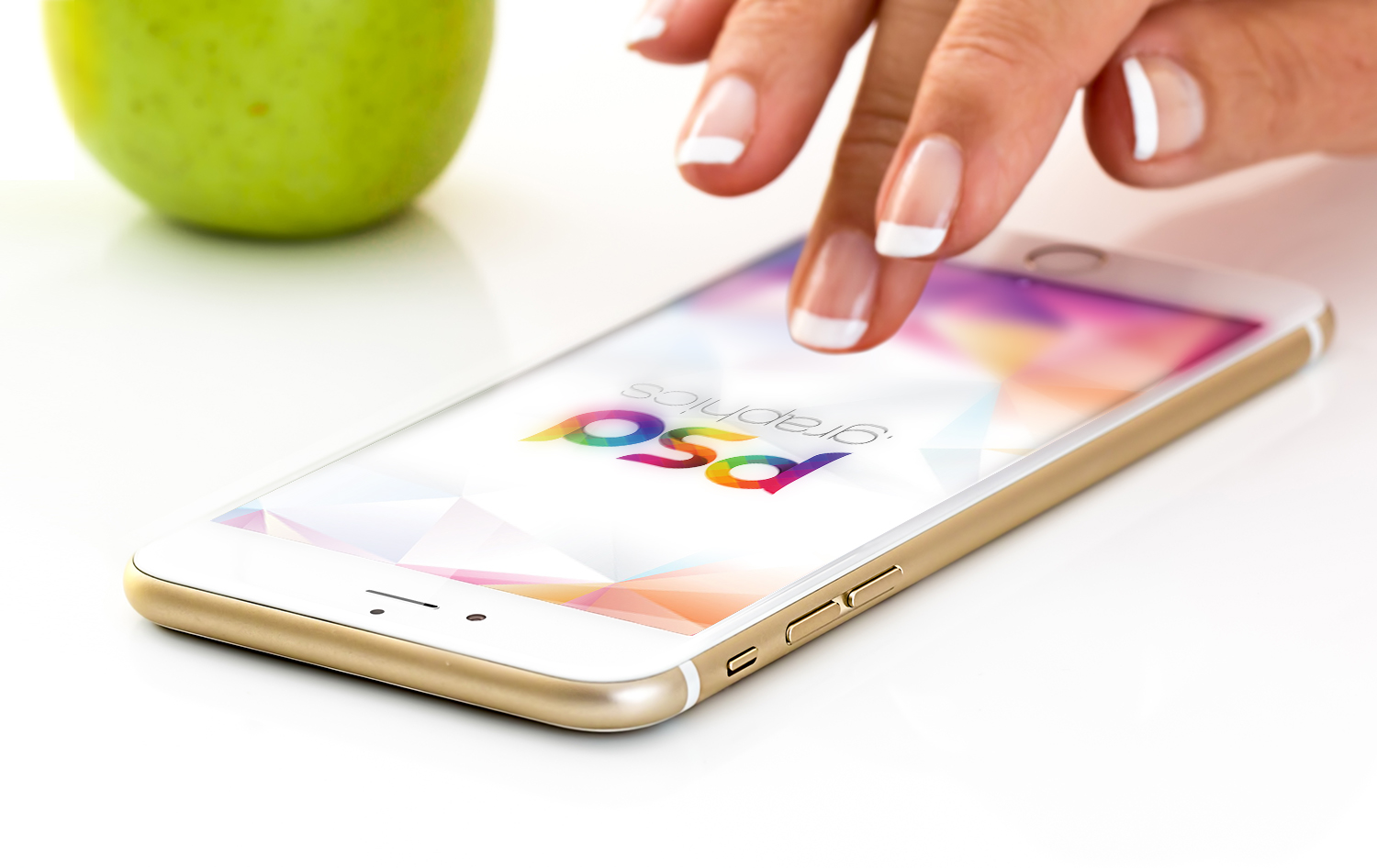 Golden iPhone with Female Hand Mockup