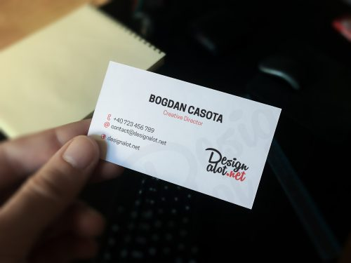 Realistic Business Card Hand Mockup