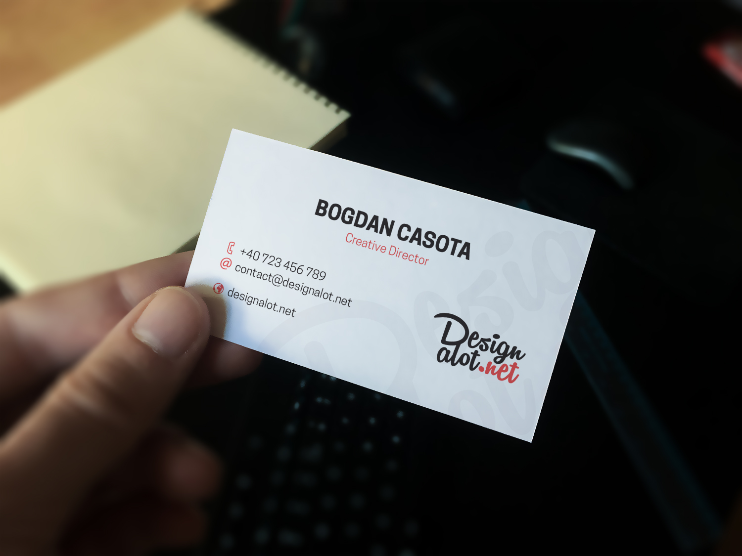 Realistic Business Card Hand Mockup