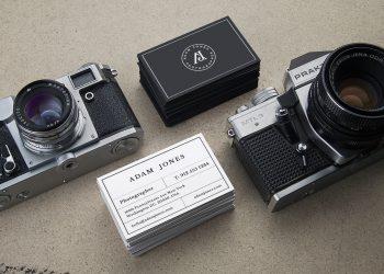 Vintage Cameras B-Cards Mockup