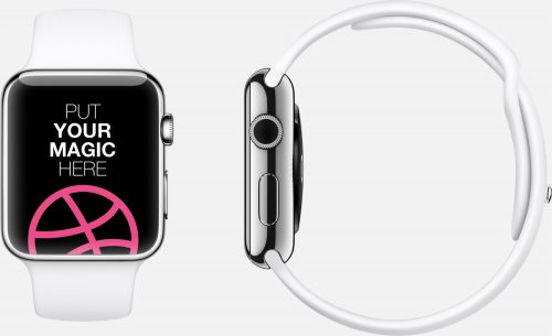 White and Silver Apple Watch Mockup
