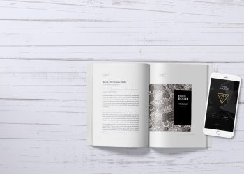 iPhone and Book Scene Mockup