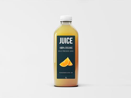 Free Big Glass Juice Bottle Mockup