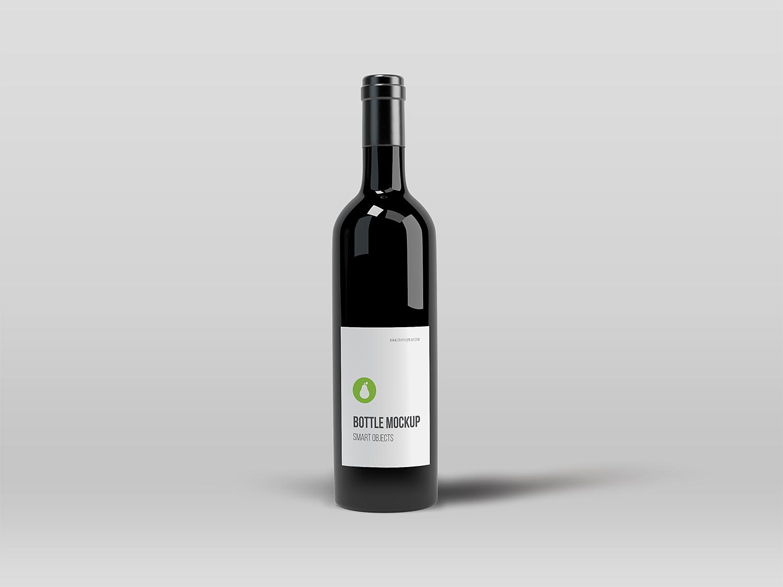 Free Black Elegant Wine Bottle Mockup