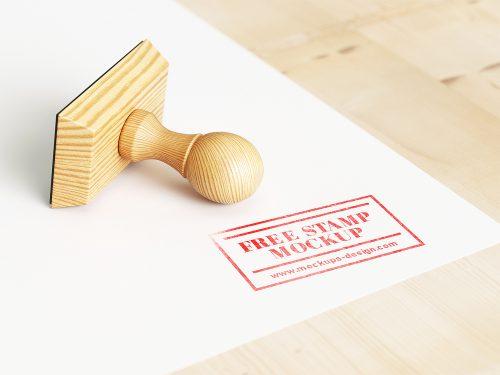 Free Wood Stamp Mockup